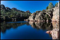 Early morning reflections, Bear Gulch Reservoir. Pinnacles National Park ( color)