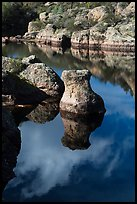 Rocks and reflections, Bear Gulch Reservoir. Pinnacles National Park ( color)