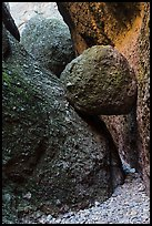 Boulder wedged in slot, Balconies Caves. Pinnacles National Park ( color)