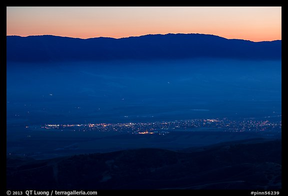 Soledad and Salinas Valley from Chalone Peak at dusk. California, USA (color)