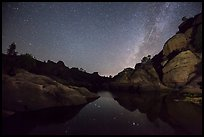 Bear Gulch Reservoir at night with Perseid Meteor. Pinnacles National Park ( color)
