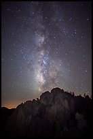 High Peaks at night with Milky Way and meteor. Pinnacles National Park ( color)