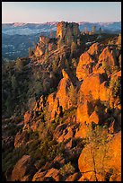 Last light on Pinnacles and Square Block Rock. Pinnacles National Park ( color)