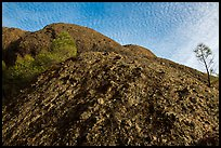 Rock with knobs and cobbles and sky with cloudlets. Pinnacles National Park ( color)