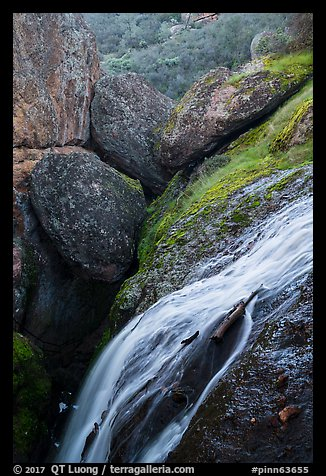 Bear Gulch Reservoir waterfall and boulder cave. Pinnacles National Park (color)