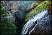 Bear Gulch Reservoir waterfall and upper cave. Pinnacles National Park ( color)