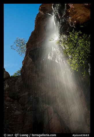 Moses Spring waterfall (slow). Pinnacles National Park (color)