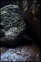 Running water, boulders, Bear Gulch cave. Pinnacles National Park ( color)
