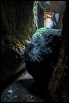Jammed boulders, Lower Bear Gulch cave. Pinnacles National Park ( color)
