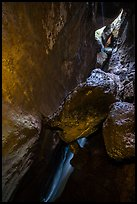 Lower Bear Gulch cave with waterfall and jammed boulders. Pinnacles National Park ( color)
