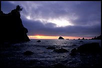 Seastacks and clouds, Hidden Beach, sunset. Redwood National Park, California, USA. (color)