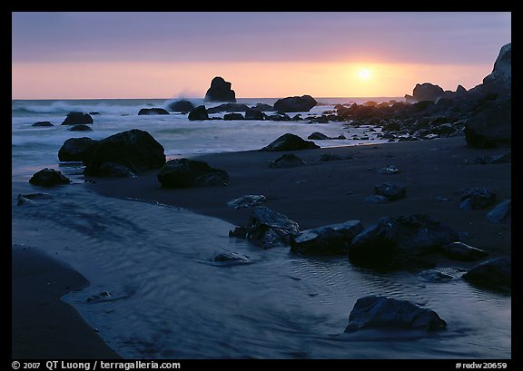 Stream and beach at sunset, False Klamath Cove. Redwood National Park (color)