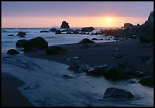Stream and beach at sunset, False Klamath Cove. Redwood National Park ( color)