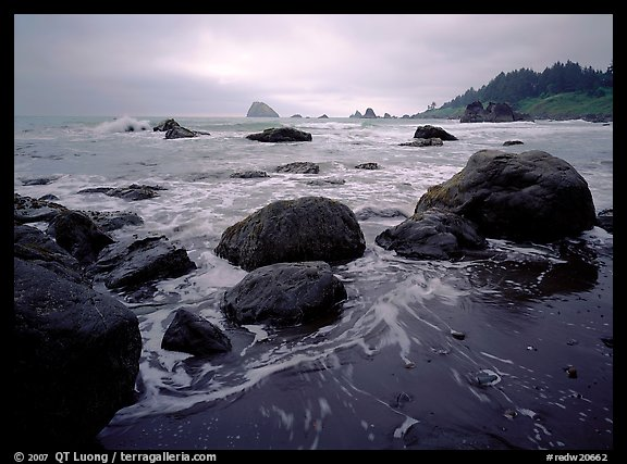 Sand, boulders and surf, Hidden Beach. Redwood National Park (color)