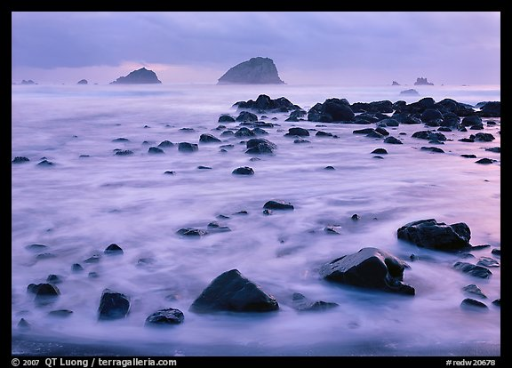 Wave motion over rocks in  purple light of dusk, False Klamath Cove. Redwood National Park (color)