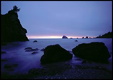 Rocks and seastacks, cloudy sunset, Hidden Beach. Redwood National Park ( color)
