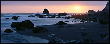 Stream and seastacks at sunset. Redwood National Park (Panoramic color)