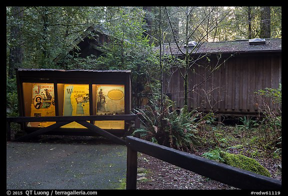 Exhibit and visitor center, Jedediah Smith Redwoods State Park. Redwood National Park (color)
