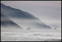 Surf and Coastal hills, Crescent Beach. Redwood National Park ( color)