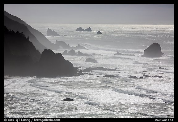 Surf, seastacks, and fog near Enderts Beach. Redwood National Park (color)