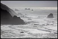 Surf, seastacks, and fog near Enderts Beach. Redwood National Park ( color)