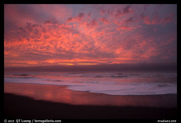Brilliant clouds at sunset, Gold Bluffs Beach, Prairie Creek Redwoods State Park. Redwood National Park (color)