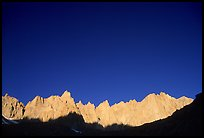 Mt Whitney range at sunrise and blue sky. Sequoia National Park ( color)