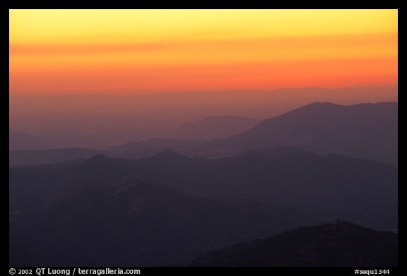 Receding ridge lines of  foothills at sunset. Sequoia National Park, California, USA.