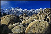 Volcanic boulders in Alabama hills and Sierras, morning. Sequoia National Park ( color)