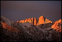 Mt Whitney, sunrise. Sequoia National Park, California, USA. (color)
