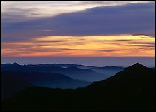 Ridges and sea of clouds at sunset. Sequoia National Park ( color)