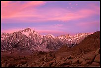 Alabama hills and Sierras, winter sunrise. Sequoia National Park, California, USA. (color)