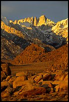 Alabama hills and Mt Whitney. Sequoia National Park, California, USA. (color)
