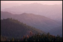 Forested ridges on western Sierra Nevada. Sequoia National Park ( color)