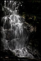 Waterfall with water shining in spot of sunlight, Cascade Creek. Sequoia National Park ( color)