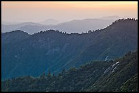 Forested ridges at sunset seen from Moro Rock. Sequoia National Park ( color)