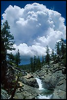 Yosemite Creek and summer afternoon thunderstorm cloud. Yosemite National Park ( color)