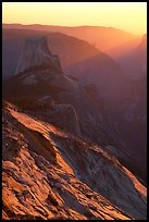 Half-Dome and Yosemite Valley seen from Clouds rest, sunset. Yosemite National Park ( color)