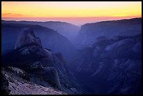 Half-Dome and Yosemite Valley seen from Clouds rest, sunset. Yosemite National Park, California, USA. (color)