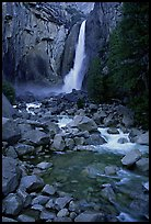 Lower Yosemite Falls, dusk. Yosemite National Park, California, USA.