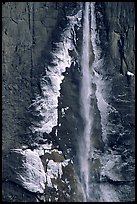 Ice crust on Yosemite Falls wall. Yosemite National Park ( color)