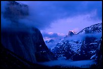 Yosemite Valley with fog, winter sunset. Yosemite National Park ( color)