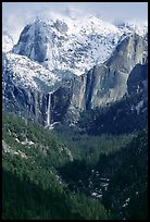 Bridalveil Falls and Cathedral rocks in winter. Yosemite National Park ( color)