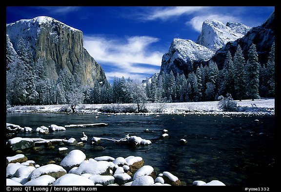 Valley View in winter with fresh snow. Yosemite National Park (color)