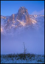 Sentinel rock rising above fog on valley in winter. Yosemite National Park ( color)