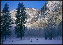 Awhahee Meadow and Yosemite falls wall with snow, early winter morning. Yosemite National Park ( color)