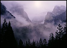 Yosemite Valley from Tunnel View with fog. Yosemite National Park ( color)