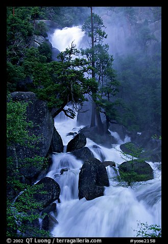 Raging waters in Cascade Creek during  spring. Yosemite National Park (color)