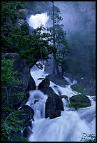 Raging waters in Cascade Creek during  spring. Yosemite National Park ( color)
