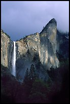 Bridalveil Falls and Leaning Tower, stormy sky. Yosemite National Park ( color)